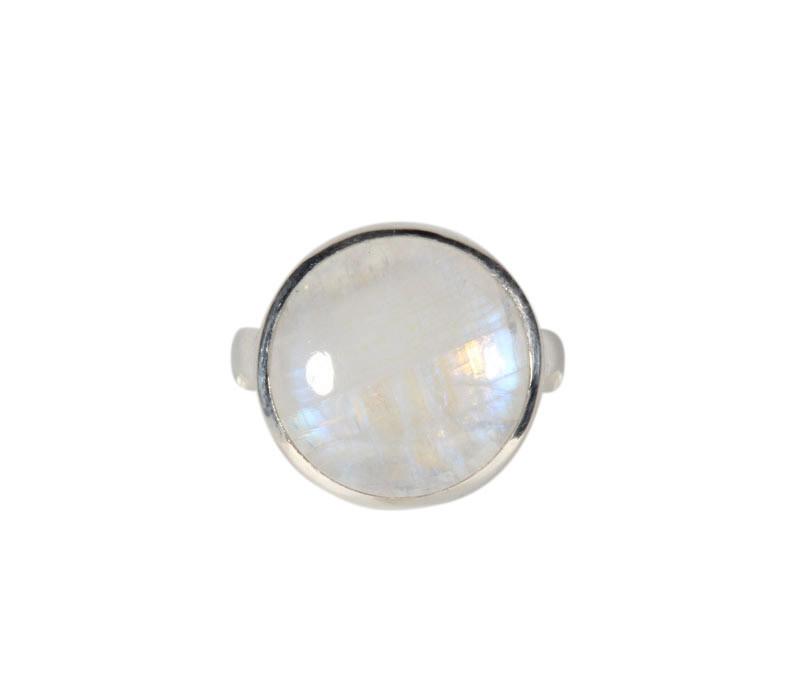 Zilveren ring maansteen (regenboog) maat 17 1/2 | rond 1,4 cm