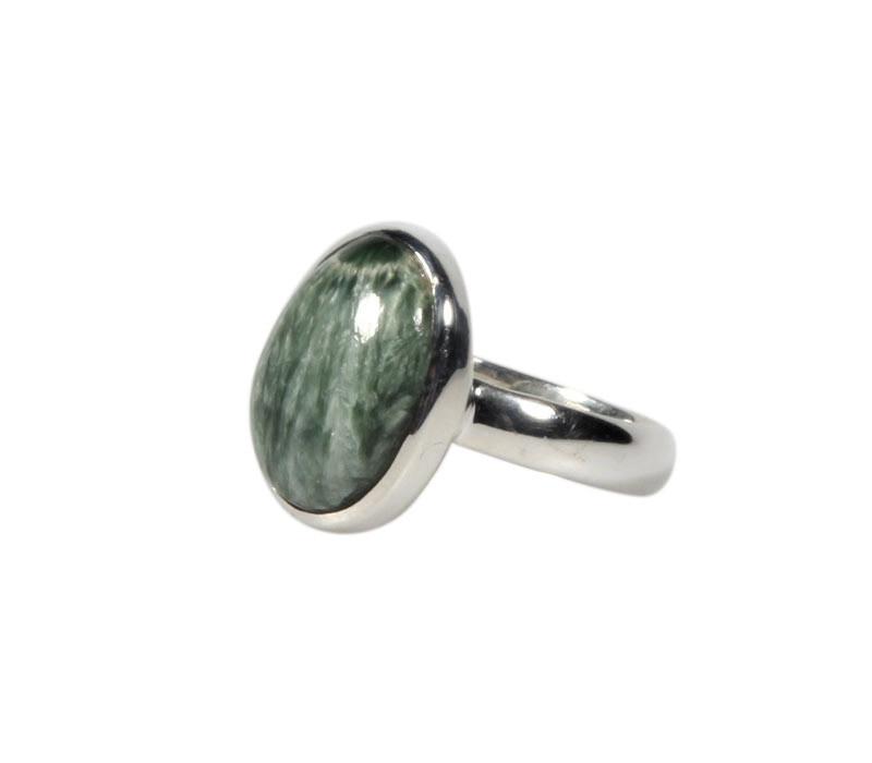Zilveren ring serafiniet maat 18 1/2   ovaal 1,5 x 1,1 cm