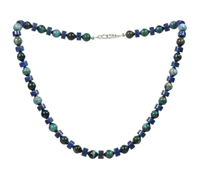 Chrysocolla - lapis lazuli ketting   8 mm kralen