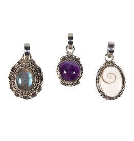 Set van 3 zilveren hangers - (138999)