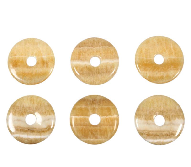 Aragoniet (geel) hanger donut 4 cm