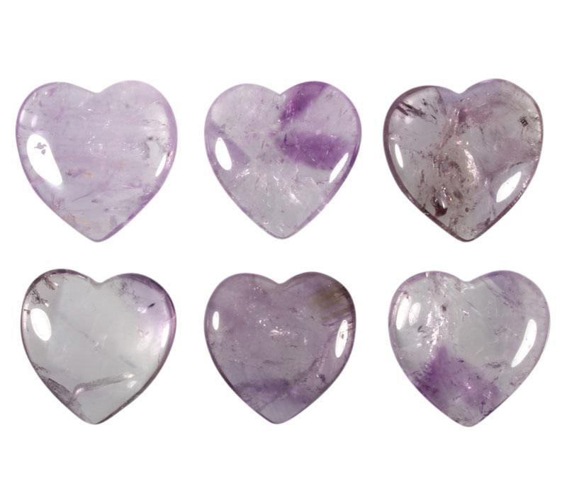 Amethist (licht) edelsteen hart 4 cm