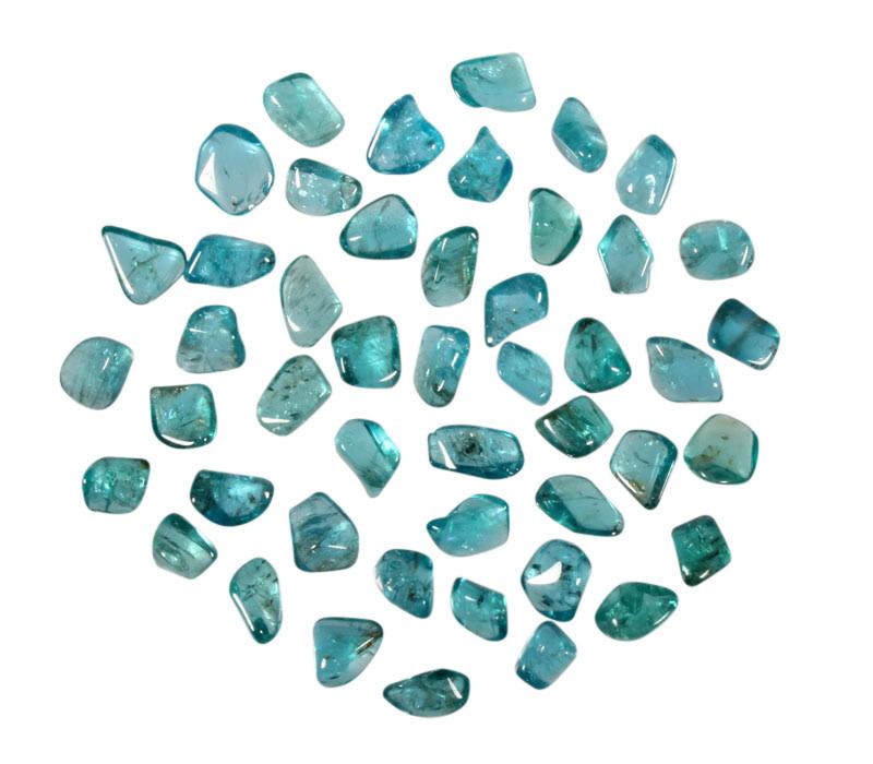 Apatiet (neon) blauw/groen steen getrommeld 0,5 - 1,5 gram