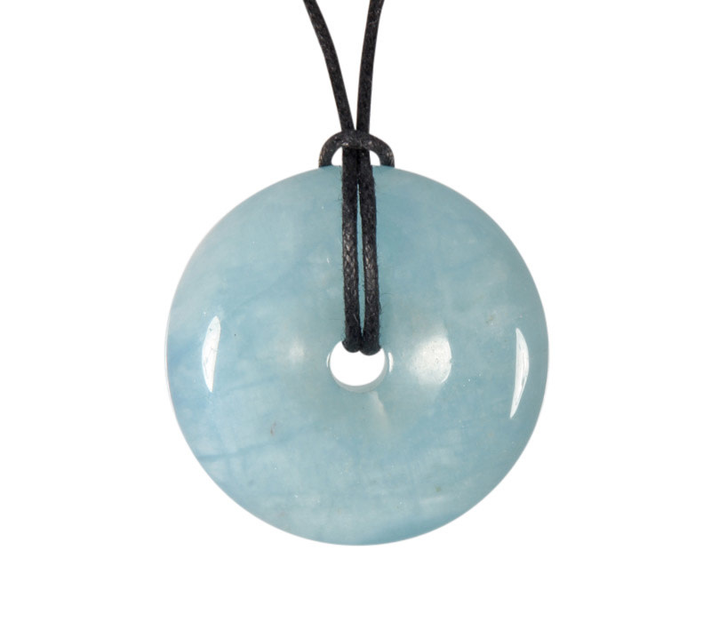 Aquamarijn (blauw) hanger A-kwaliteit donut 3,2 - 3,6 cm