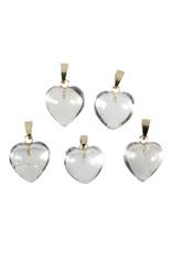 Bergkristal hanger hart met 14k gouden oogje