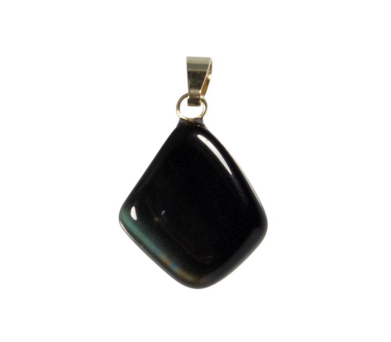 Obsidiaan (regenboog) hanger met 14k gouden oogje