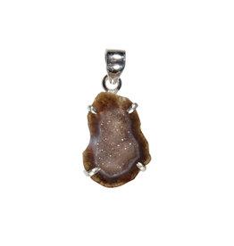 Zilveren hanger agaat geode (bruin)