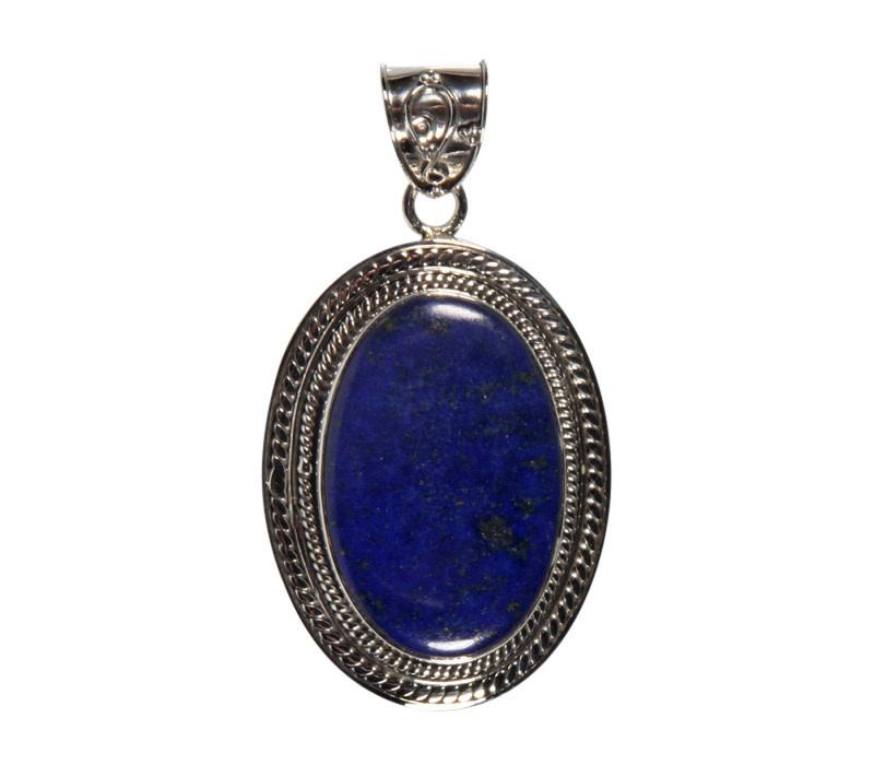 Zilveren hanger lapis lazuli | ovaal 2,7 x 1,8 cm