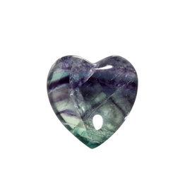 Fluoriet (multi) edelsteen hart 3 cm