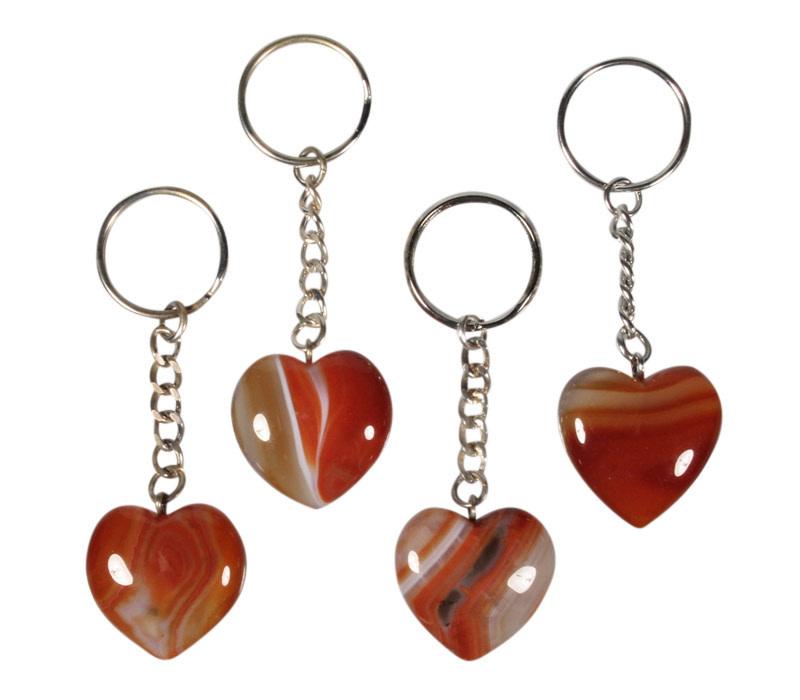 Carneool sleutelhanger hart
