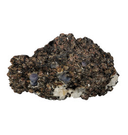 Saffier kristallen met granaat in gneiss ruw 10 x 6,5 x 4,5 cm | 426 gram