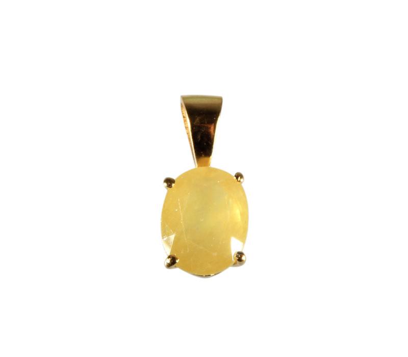 Gouden (14k) hanger saffier (geel) ovaal facet gezet 10 x 8 mm