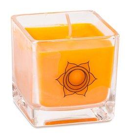 Geurkaars koolzaadwas heiligbeen chakra (oranje)