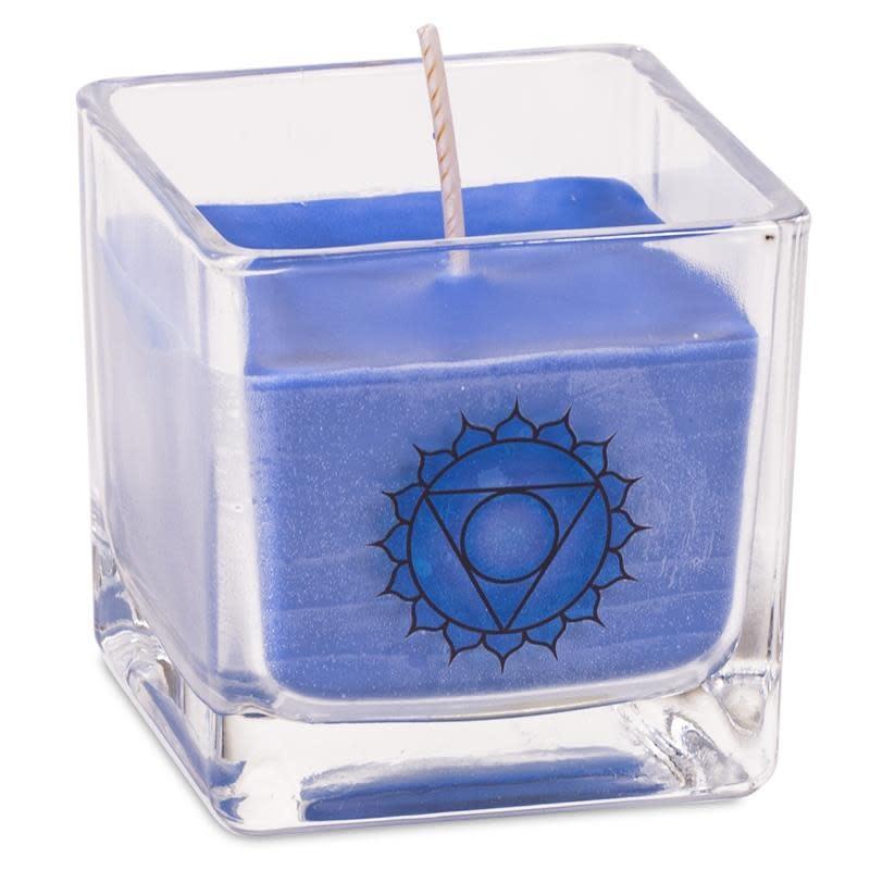 Geurkaars koolzaadwas keel chakra (blauw)