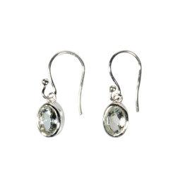 Zilveren oorbellen aquamarijn | ovaal facet 7 x 5 mm