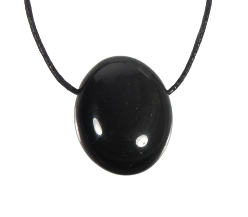 Obsidiaan (regenboog) hanger doorboord