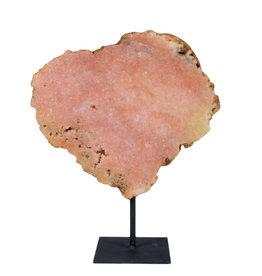 Amethist (roze) schijf gepolijst 25 x 21,5 x 2,2 cm / 2244 gram | op standaard