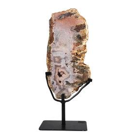 Amethist (roze) schijf gepolijst 30 x 14 x 3,2 cm / 2139 gram | met standaard