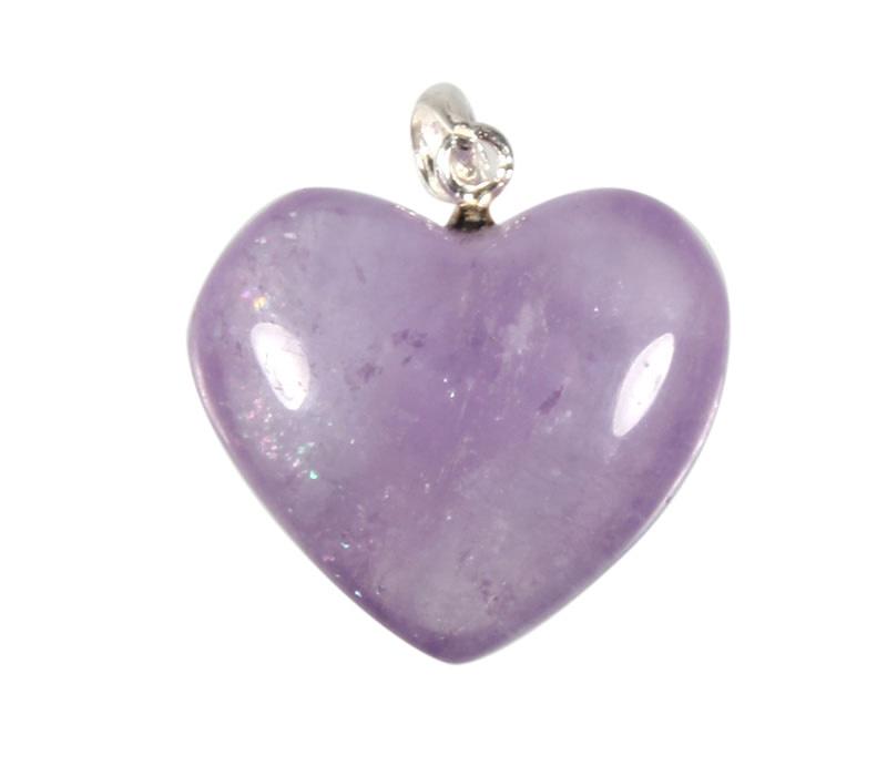Zilveren hanger amethist hart 2 cm