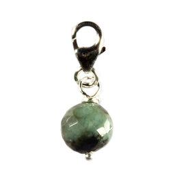 Zilveren bedeltje smaragd rond facet