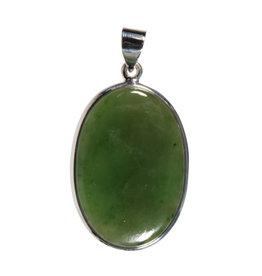 Zilveren hanger jade | ovaal 3,3 x 2,3 cm