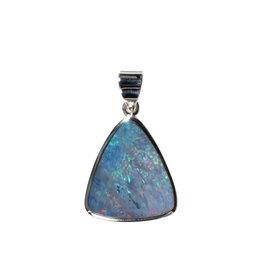Zilveren hanger opaal (Australië) doublet | driehoek 2 x 1,8 cm