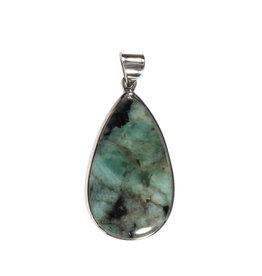 Zilveren hanger smaragd | druppel 3,5 x 2 cm