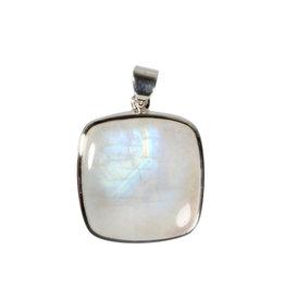 Zilveren hanger maansteen (regenboog) A-kwaliteit | vierkant 2,7 x 2,6 cm