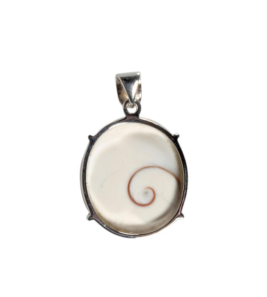 Zilveren hanger Shiva oog   ovaal 2,6 x 2,3 cm
