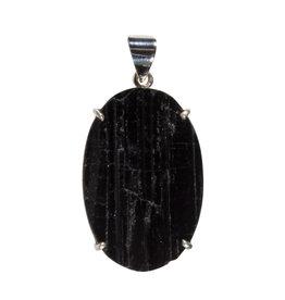 Zilveren hanger toermalijn (zwart) | ovaal ruw gezet 3,6 x 2,4 cm