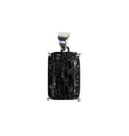 Zilveren hanger toermalijn (zwart) | rechthoek ruw gezet 1,8 x 1,3 cm