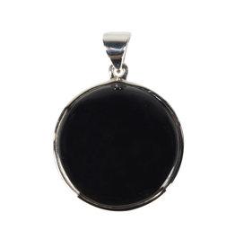 Zilveren hanger onyx | rond 2,5 cm