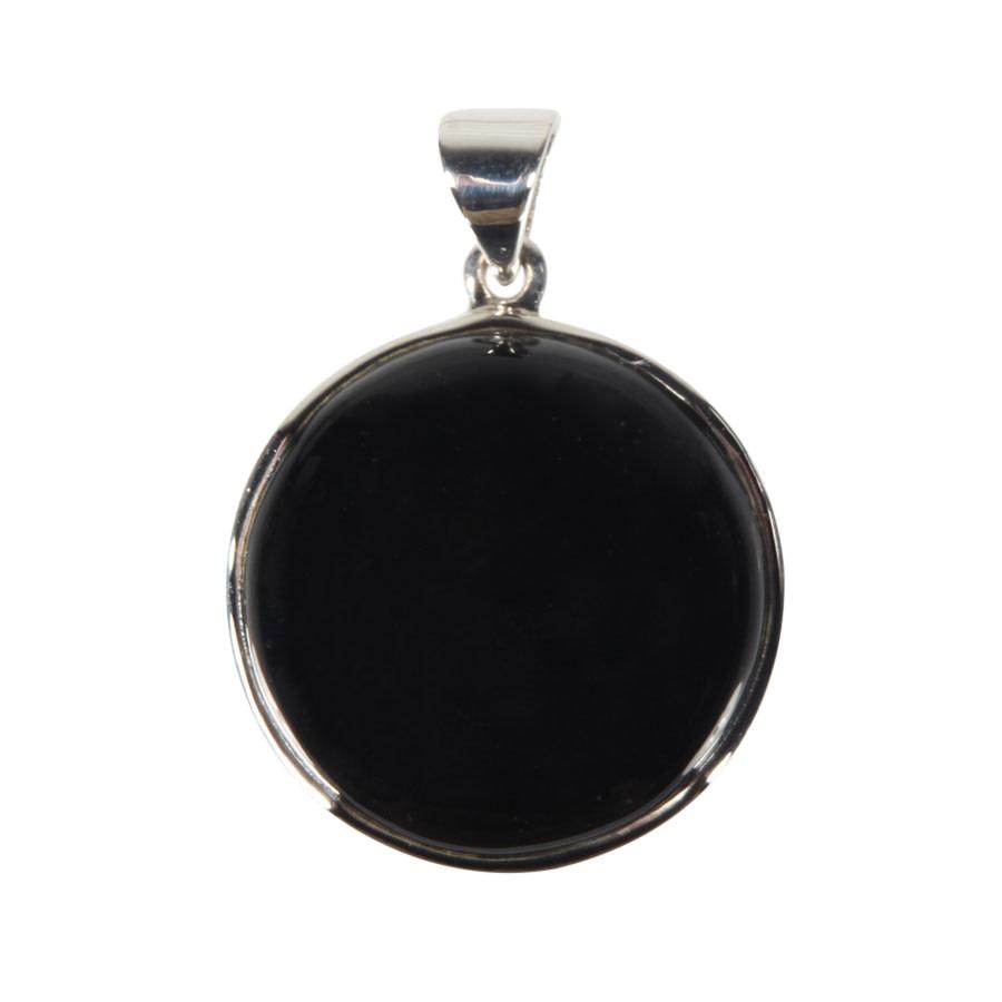 Zilveren hanger onyx   rond 2,5 cm