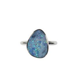 Zilveren ring opaal (Australië) doublet maat 18 | 1,6 x 1,2 cm