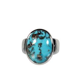 Zilveren ring turkoois met pyriet maat 18 | ovaal 1,7 x 1,3 cm