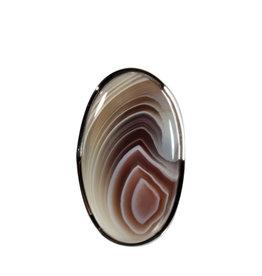 Zilveren ring agaat (Botswana) maat 18 verstelbaar   ovaal 3,2 x 1,8 cm