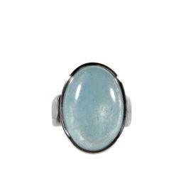 Zilveren ring aquamarijn maat 18 1/2   ovaal 2,2 x 1,6 cm