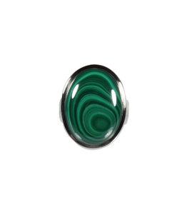 Zilveren ring malachiet maat 17 1/2 | ovaal 2,1 x 1,6 cm