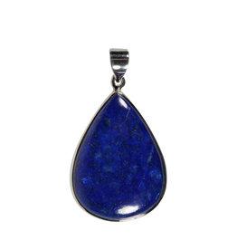 Zilveren hanger lapis lazuli   druppel 3,7 x 2,7 cm