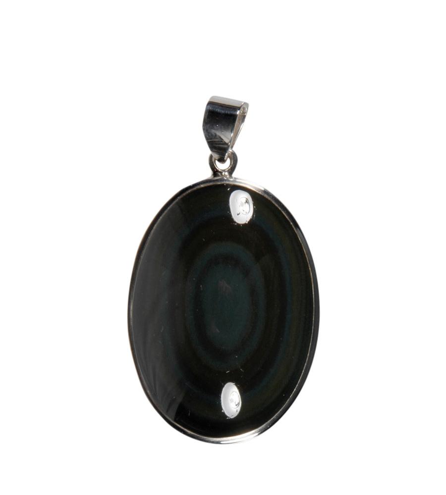 Zilveren hanger obsidiaan (regenboog) | ovaal 3,6 x 2,6 cm