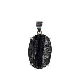 Zilveren hanger toermalijn (zwart) | ovaal ruw gezet 2,8 x 1,9 cm