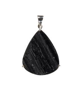 Zilveren hanger toermalijn (zwart) | druppel ruw gezet 3,6 x 3,1 cm
