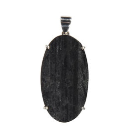 Zilveren hanger toermalijn (zwart) | ovaal ruw gezet 4,2 x 2,3 cm