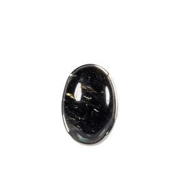 Zilveren ring nuummiet maat 17 1/2 | ovaal 2,3 x 1,5 cm