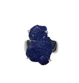 Zilveren ring azuriet maat 18 | ruw gezet 2,3 x 1,6 cm