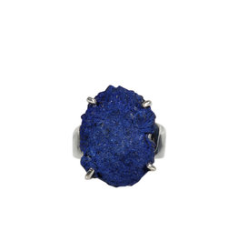 Zilveren ring azuriet maat 18 1/2   ruw gezet 2,2 x 1,6 cm