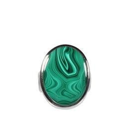 Zilveren ring malachiet maat 18 | ovaal 2,2 x 1,6 cm