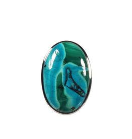 Zilveren ring chrysocolla met malachiet maat 18 | ovaal 2,7 x 1,7 cm