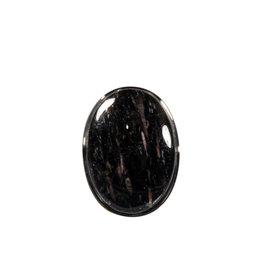 Zilveren ring nuummiet maat 17 1/2 | ovaal 2,4 x 1,7 cm