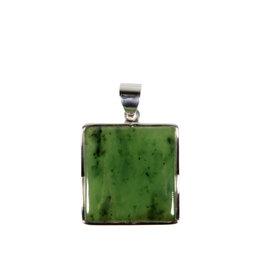 Zilveren hanger jade | vierkant 2,4 x 2,3 cm